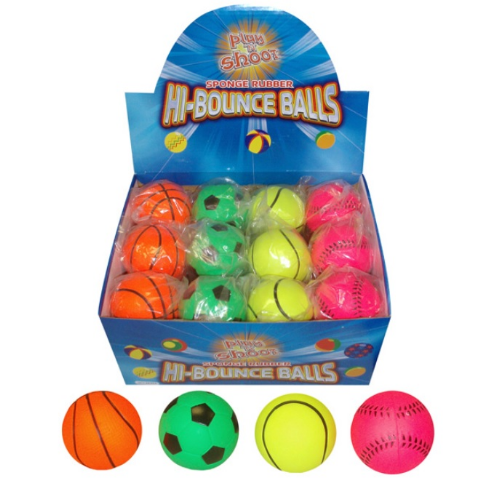 24 x Sports Hi Bounce Hard Sponge Rubber Bouncy Ball Dogs Assorted Designs - Wholesale Box